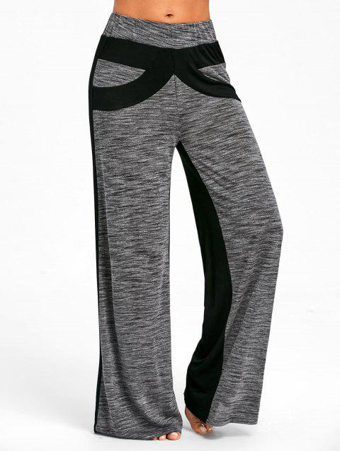 Color Block High Waisted Wide Legged Pants - GRAY XL