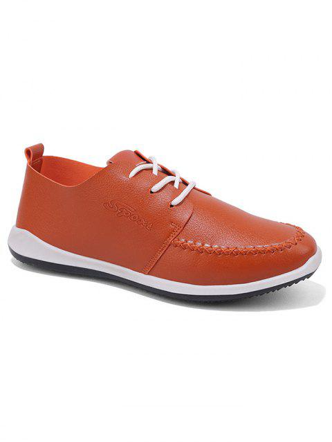 Artificail Leather Stitch Toe Casual Shoes - BROWN 43