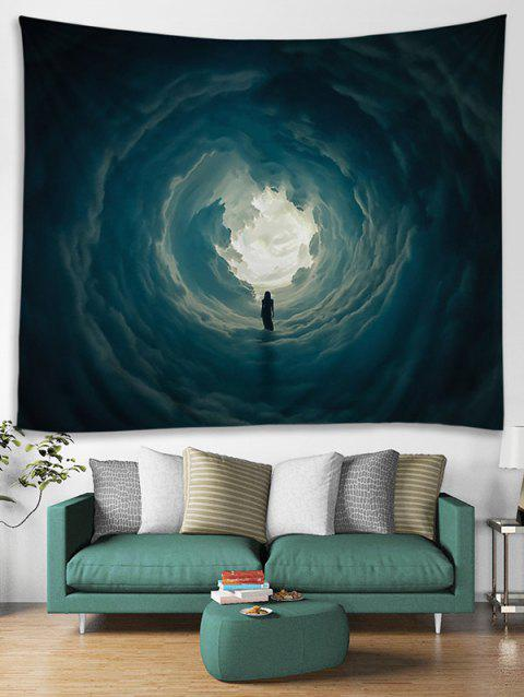 Secret Woman in Cloud Hole Printed Wall Hanging Art Tapestry - GRAY CLOUD W91 INCH * L71 INCH