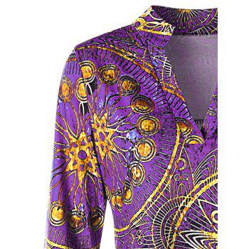 Plus Size Asymmetrical Ethnic Print Tee - PURPLE 3XL
