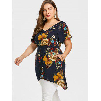 Plus Size Butterfly Sleeves Flower Print T-Shirt - PURPLISH BLUE 3XL