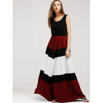 Color Block Sleeveless Maxi Dress - BLACK M