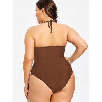 Plus Size See Through One Piece Swimwear - CAPPUCCINO XL