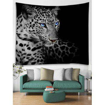 Resting Leopard Print Tapestry Wall Hanging Art Decoration - BLACK W91 INCH * L71 INCH