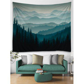 Rolling Hills Forest Decorative Wall Tapestry - DARK FOREST GREEN W79 INCH * L59 INCH