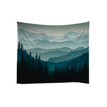 Rolling Hills Forest Decorative Wall Tapestry - DARK FOREST GREEN W79 INCH * L71 INCH