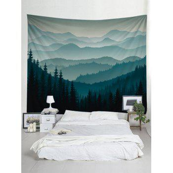 Rolling Hills Forest Decorative Wall Tapestry - DARK FOREST GREEN W91 INCH * L71 INCH