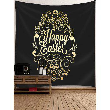 Happy Easter Letter Print Wall Hanging Tapestry - BLACK W79 INCH * L71 INCH