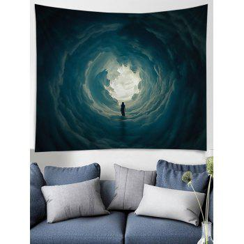 Secret Woman in Cloud Hole Printed Wall Hanging Art Tapestry - GRAY CLOUD W79 INCH * L71 INCH
