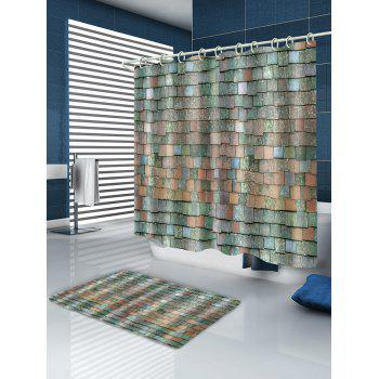 Brick Wall Pattern Polyester Shower Curtain - multicolor W65 INCH * L71 INCH