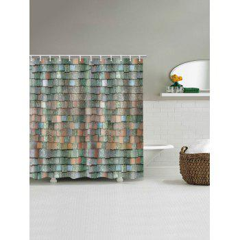 Brick Wall Pattern Polyester Shower Curtain - multicolor W71 INCH * L79 INCH