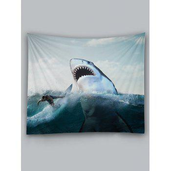 Surfer and Ferocious Shark Print Wall Hanging Tapestry - WHITE W59 INCH * L59 INCH