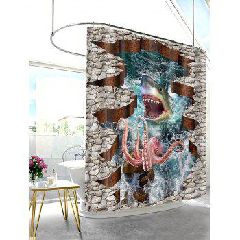 3D Shark Octopus Print Waterproof Shower Curtain - multicolor W71 INCH * L71 INCH