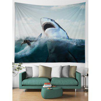 Surfer and Ferocious Shark Print Wall Hanging Tapestry - WHITE W79 INCH * L71 INCH