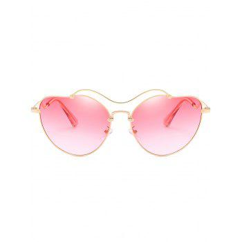 Anti UV Irregular Heart Shaped Sunglasses - GOLD FRAME / PINK LENS