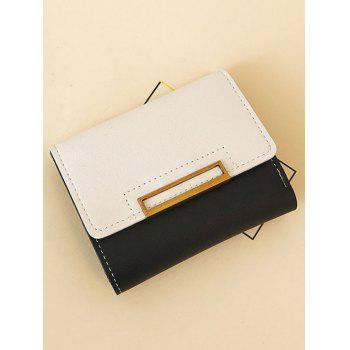 PU Leather Contrasting Color Wallet - BLACK