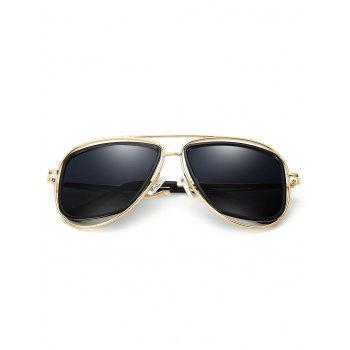 Anti Fatigue Hollow Out Metal Driver Sunglasses - GOLDEN/GREY