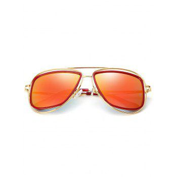Anti Fatigue Hollow Out Metal Driver Sunglasses - GOLD FRAME / RED LENS