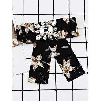 Flowers Pattern Embellished Faux Gem Bowknot Brooch - BLACK
