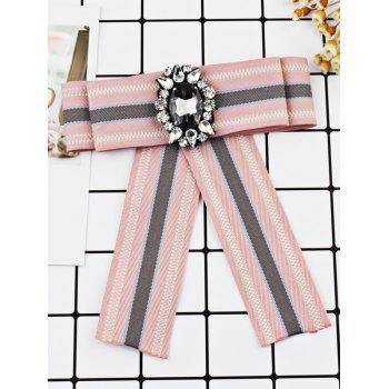 Striped Pattern Artificial Gem Bowknot Brooch - LIGHT PINK