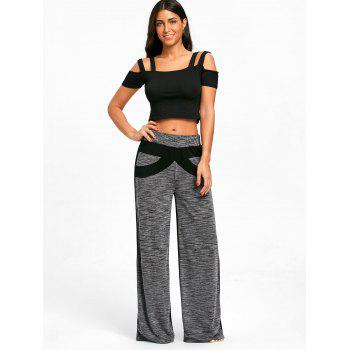 Color Block High Waisted Wide Legged Pants - GRAY 2XL