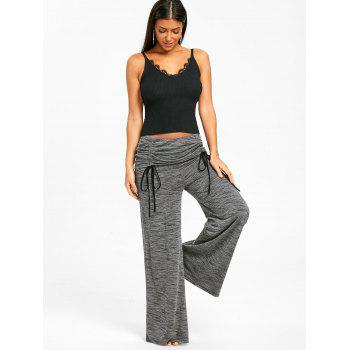 Elastic Ruched Waist Wide Leg Pants - GRAY 2XL