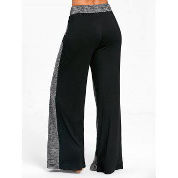 Color Block High Waisted Wide Legged Pants - GRAY M