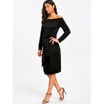 Off Shoulder Tie Waisted Sweatshirt Dress - BLACK 2XL