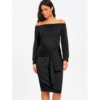 Off Shoulder Tie Waisted Sweatshirt Dress - BLACK L