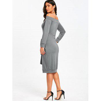 Off Shoulder Tie Waisted Sweatshirt Dress - GRAY 2XL