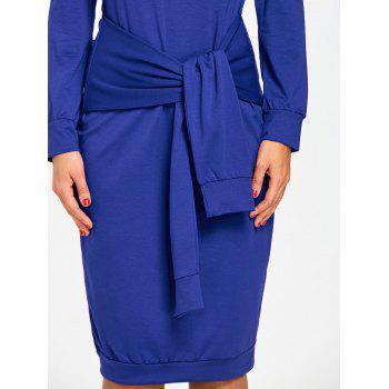 Off Shoulder Tie Waisted Sweatshirt Dress - BLUE 2XL