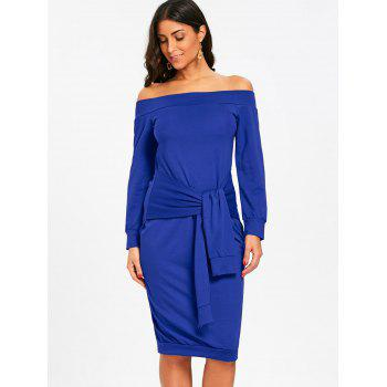 Off Shoulder Tie Waisted Sweatshirt Dress - BLUE L