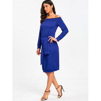 Off Shoulder Tie Waisted Sweatshirt Dress - BLUE M