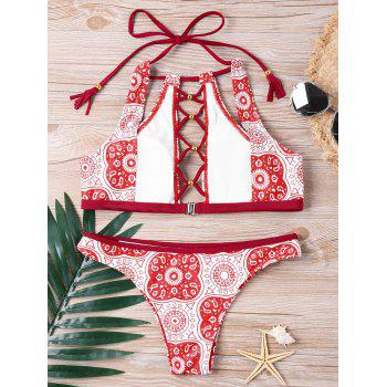 Mandala Graphic Lace Up Bikini Set - RED M