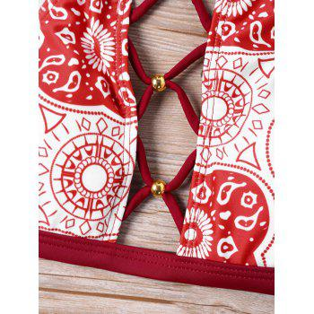 Mandala Graphic Lace Up Bikini Set - RED L