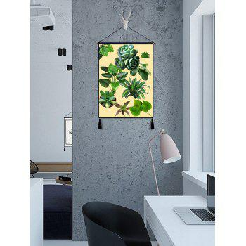 Leaves Multicapacity Process Print Tassel Hanging Wall Art Picture - SEA GREEN 1PC:18*26 INCH(NO FRAME)