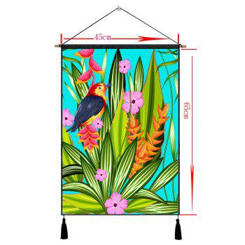 Flower Leaves and Bird Print Tassel Wall Hanging Picture - BEETLE GREEN 1PC:18*26 INCH(NO FRAME)