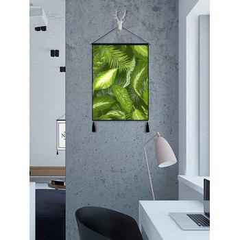 Leaves Print Tassel Hanging Wall Art Picture - BEETLE GREEN 1PC:18*26 INCH(NO FRAME)