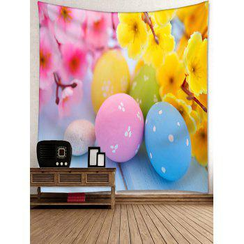Flowers and Colorful Egg Shape Stones Printed Tapestry Wall Decor - multicolor W91 INCH * L71 INCH
