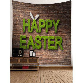 Tapisserie Imprimé Lettre Happy Easter - Ours Brun W91 INCH * L71 INCH