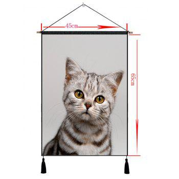 Cat Pattern Wall Decor Tassel Hanging Painting - VAMPIRE GRAY 1PC:18*26 INCH(NO FRAME)