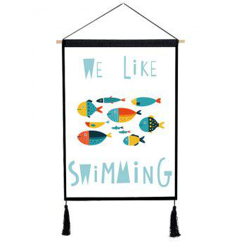 Swimming Fishes Printed Tassel Hanging Painting - multicolor 1PC:18*26 INCH(NO FRAME)