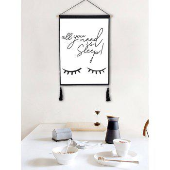 Eyes Pattern and Word Printed Hanging Painting Tassel Decor - BLACK 1PC:18*26 INCH(NO FRAME)