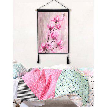 Blooming Flowers Printed Wall Decoration Tassel Hanging Painting - LIGHT PINK 1PC:18*26 INCH(NO FRAME)