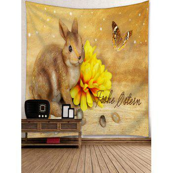 Rabbit Flower Butterfly Printed Tapestry Wall Art - SUN YELLOW W91 INCH * L71 INCH