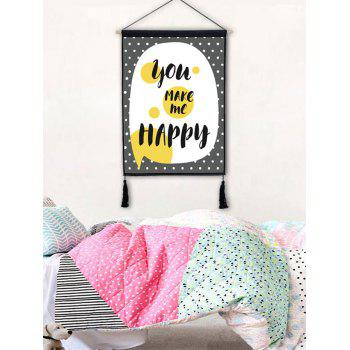 Round Dots Word Printed Wall Decor Tassel Hanging Painting - BLACK 1PC:18*26 INCH(NO FRAME)