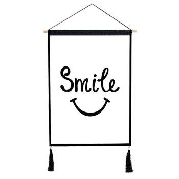 Smile Expression Printed Wall Background Tassel Hanging Painting - BLACK 1PC:18*26 INCH(NO FRAME)
