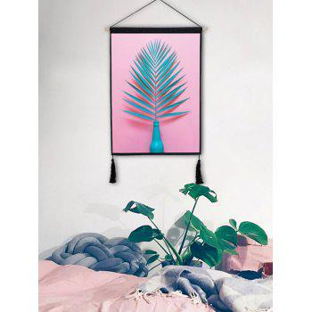 Plant Leaves in the Vase Printed Tassel Wall Hanging Painting - LIGHT PINK 1PC:18*26 INCH(NO FRAME)