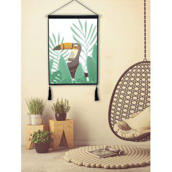 A Bird in the Grass Print Wall Background Tassel Hanging Picture - LIGHT SEA GREEN 1PC:18*26 INCH(NO FRAME)