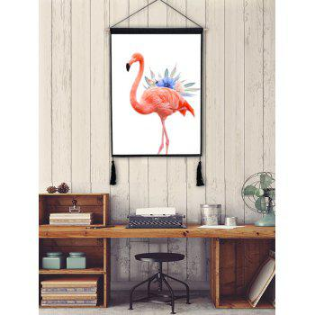 Flamingo Flower Printed Tassel Hanging Picture Wall Decoration - FLAMINGO PINK 1PC:18*26 INCH(NO FRAME)